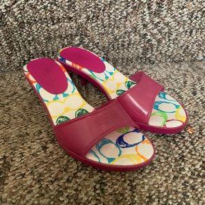 Coach jelly logo kitten heel sandals size 6